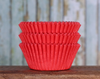 Red Cupcake Liners, Red Cupcake Wrappers, Red Cupcake Cases, Christmas Cupcake Liners, Valentine's Cupcake Liners (50)