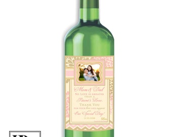 Thank You Parents Wine Labels - Wedding Wine Labels - To My Parents on my Wedding Day - Wedding Gifts for Parents - Custom Wine Labels