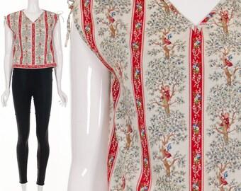 Vintage HOLLY HOBBY Rare Sleeveless Top Drawstring Bow Tie Sleeves Nostalgic Cotton 70s Top XS S