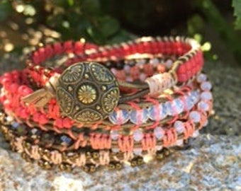 Red and Brass Wrap Bracelet