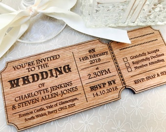 Wooden invitations Etsy