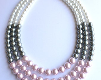 Julianne - Lilac Silver White Pearl Bridesmaid Statement Necklace