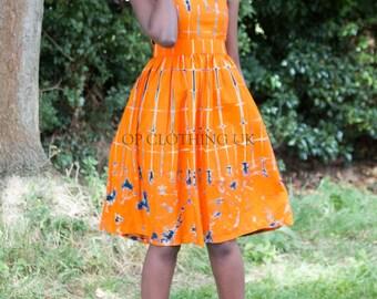 Tye Dye African dress, orange dress, cotton dress, casual dress, dress with collar, knee length dress