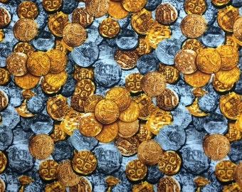Kanvas BURIED TREASURE (COINS) 100% Cotton Premium Quilt Fabric-Per 1/2 Yard