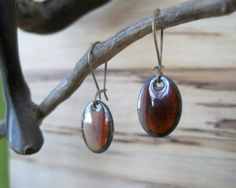 Chestnut Brown Dangle Earrings, Oval Mocha Brown Drop Earrings, Copper Enamel, Espresso Chandelier Earrings