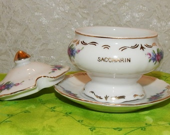 Rare Vintage Bone China Saccharin Sweetener Bowl with Lid and Saucer Floral Sugar Bowl Small