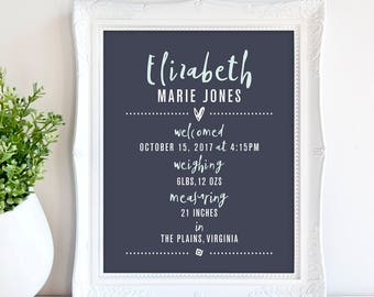 Baby Girl Birth Announcement Print, Nursery Wall Art, Personalized baby gifts, Name Print, Date, Weight  Birth Stats Wall Art Print 8x10