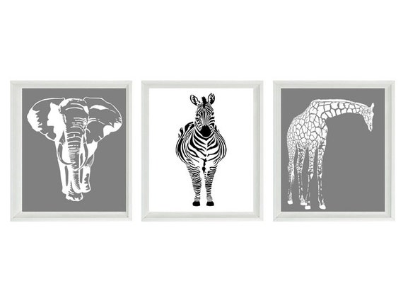 Safari nursery wall art prints black white gray decor