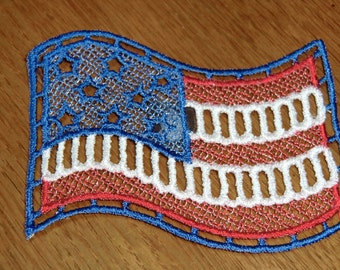 Embroidered Magnet - 4th of July Red, White & Blue Flag