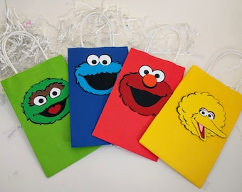 Sesame Street Treat Bags, Elmo, Cookie Monster, Big Bird, Oscar the Grouch, Sesame Street Birthday Party, Party Favors