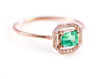 Emerald Ring, Micropave Ring , Diamond Ring, Gold Emerald Ring, Emerald Cut, Gold Ring, Tula Jewelry