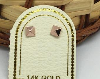 14K Rose Gold Stud Earrings