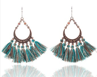 Turquoise tassel earrings - surgical steel earrings, turquoise green, copper bronze or pink earrings, stainless steel, nickel free