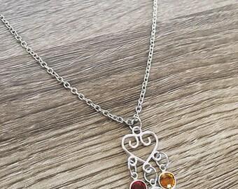 Three Birthstone necklace / Heart Birthstone necklace / Three birth stone jewelry / grandma gift / mom / Three birthstones / Three sisters