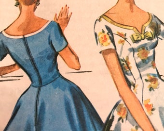 Vintage 1960's Fit and Flare Dress With Bateau Neck and Bow Detail---McCalls 4044---Size 16  Bust 36  UNCUT