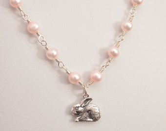 Pink Easter Necklace, Child Children, Sterling Silver Jewelry, Flower Girl Gift, Bunny Rabbit, Blush Pink Freshwater