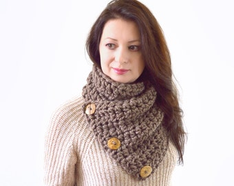 Crochet Chunky Neck Warmer Cowl Scarf with Three Natural Coconut Shell Buttons | The North Bay