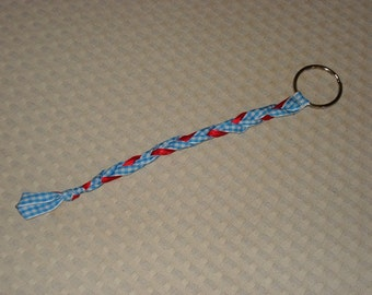 Red White and Blue Braided Ribbon Keychain