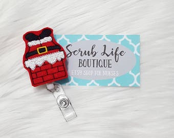 Badge Reel, Nurse Badge Reel, Christmas Felt Badge Reel, Santa Badge Reel, OR Nurse Gift, Nurse Graduation, Medical Badge Reel, RN Nursing
