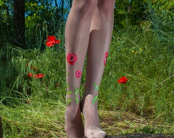 Poppy tights / Floral tights for women / Thin nude tights / vintage wedding tights / Wedding Lingerie / Bridal Accessories