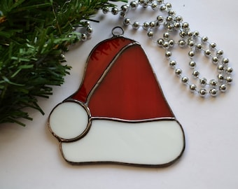 Stained Glass Santa Hat Christmas Decoration, Ornament, red white, Tree Decorations, Holiday decor, Window decor, Suncatcher