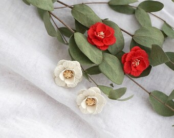 Women Fashion Elegant Red Camellia Flower Ear Stud Earrings New
