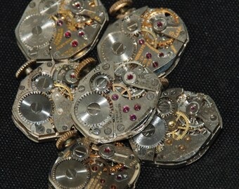 Vintage Watch Movements Parts Steampunk Altered Art Assemblage RT 15