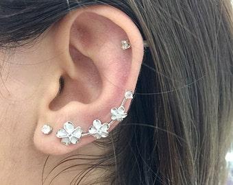 Plumeria earrings climbers