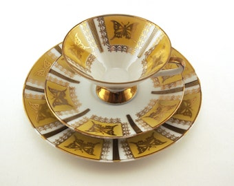 Cup saucer plate set. Mid Century Winterling kirchenlamitz bavaria 24, Gold Yellow Butterfly.