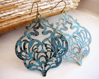 Blue Patina Earrings, Filigree Earrings, Bohemian, Large Earrings, Flower die cut Pattern, Scalloped Edge, gift for Her, Redpeonycreations