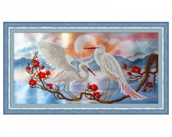 "DIY Bead Embroidery Kit, Bead Embroidery Patterns  ""Chinese nature. Storks"", Beaded Painting, Beaded Embroidery Kit, Embroidery"