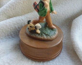 """Vintage Music Box Porcelain Humel Style Boy and his Dog, Wood Base Plays """"Time to Remember"""""""