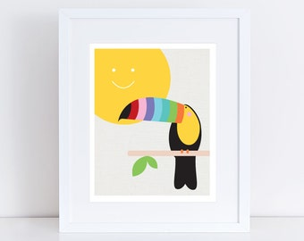 toucan art print - topical bird, jungle nursery, sun colourful, children kids baby girl or boy, gender neutral, rainbow bright, nursery art