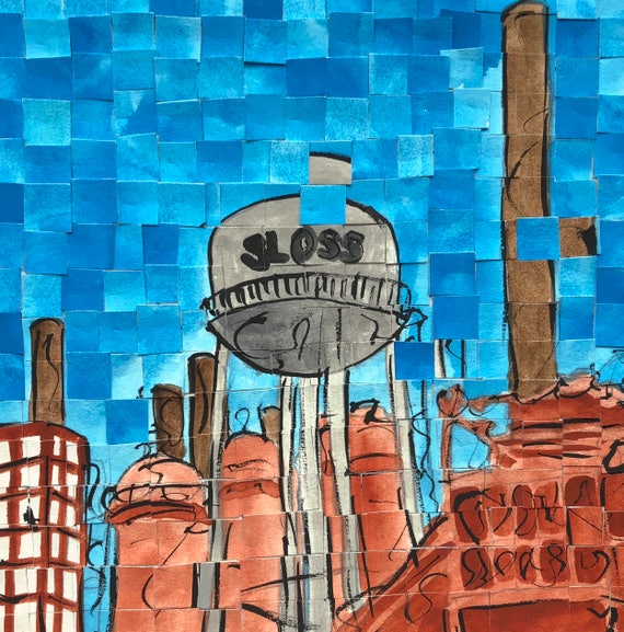 "Birmingham, Alabama - Sloss Furnaces - Architectural Art: 8""x8"" Original Painting"