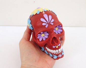 Day of the Dead Skull Candle, Red, Handmade