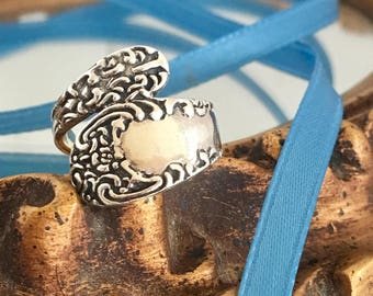 Sterling Spoon Ring, Bypass Wrap Ring, Victorian Revival, Romantic Scroll Bohemian Ring, SZ 5.5