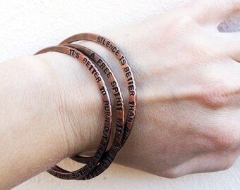 Secret message bangle - Hand stamped bracelet - Inspirational bangle - Motivational jewelry - Personalized quote bracelet - Message bangle