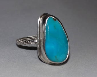 Small Turquoise Sterling Silver Ring size 7