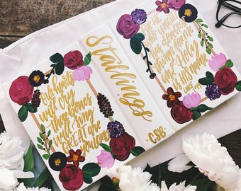 Wedding bible, Hand painted bible, custom guest book, scripture gift, bible journaling,personalized wedding gift, gifts for Christian couple