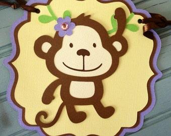 Monkey Happy Birthday Banner