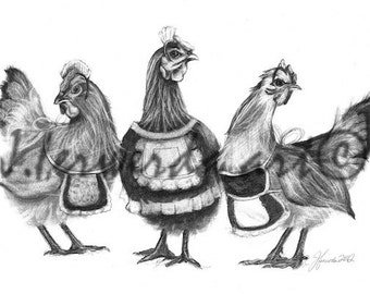 Pencil Drawing Print - Three French Hens - Day 345