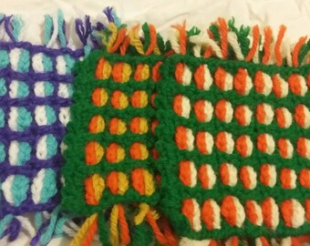 Chain Weave Crochet Coasters