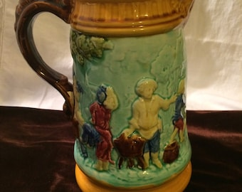 """Antique Majolica Pitcher ; 9.25"""" Inches Tall"""