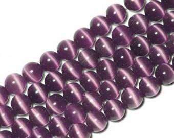 10 x beads 6mm AMETHYST cat's eye