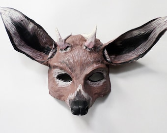 Deer Mask, Woodland creature, doe, antlers, animal mask, forest creature, paper mache, wearable