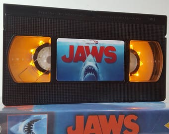 Retro VHS Lamp Jaws Night Light Table Lamp, Horror Movie . Order any movie! Great personal gift. Man Cave. Office. Mothers Day Mothers Day