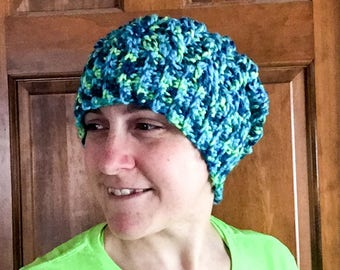 Women's Cabled Slouch Hat Blue Green Varigated