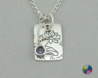 Birthstone Necklace - Mothers Day Gift, sterling silver necklace, charm necklace, gift for mom, birthstone jewelry, lotus flower, heart