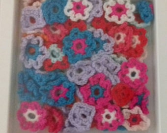 White Box of Hand Made Crochet Flowers For Wall Decoration