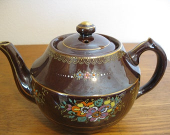 Vintage Occupied Japan Moriage Painting Redware Brown Teapot Beautiful Design with Many Colors